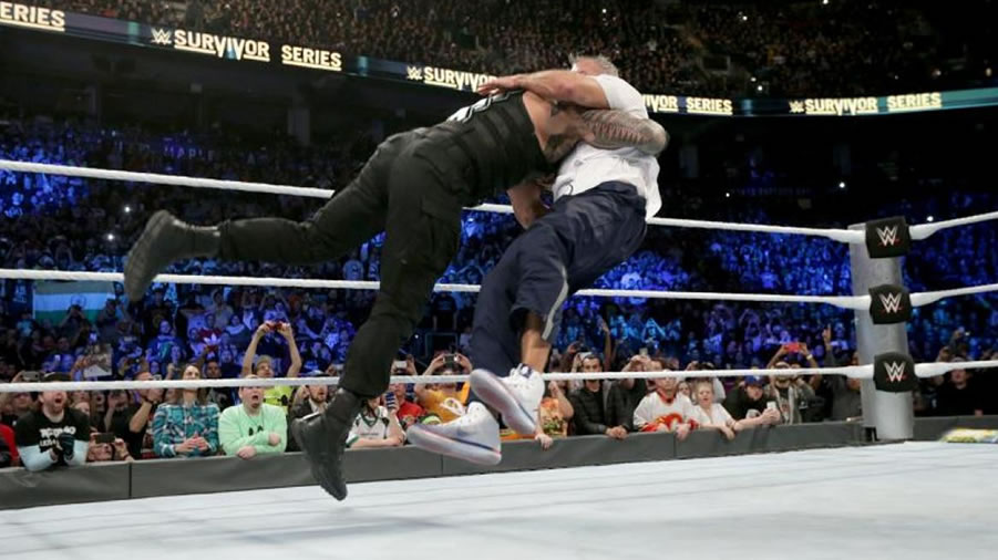 Shane mcmahon roman reigns spear